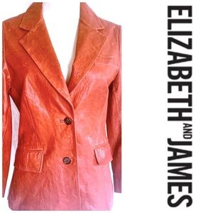 Elizabeth and James Red Distressed LeatherBlazer